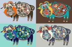 Ukrainian traditional tribal art in karakoko style, folk ethnic - stock illustration