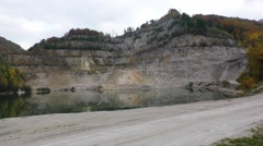 View of the sandy dolomite quarry in Slovakia Stock Footage