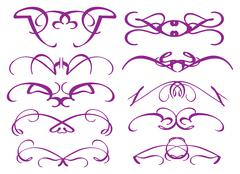 Purple Vintage decorative design elements - stock illustration