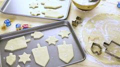 Baking sugar cookies for Hanukkah. Stock Footage
