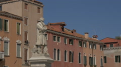 Statue of Nicolo Tommaseo in Venice Stock Footage