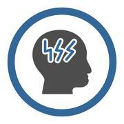 Head Sickness Circled Vector Icon - stock illustration