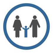 Parents And Child Circled Vector Icon - stock illustration