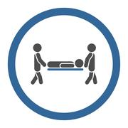 Sickness Stretcher Rounded Vector Icon - stock illustration