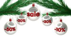 Christmas sale sign on brilliant balls - stock illustration