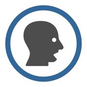 Stock Illustration of Shouting Head Circled Vector Icon