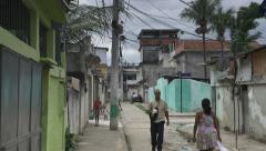 Stock Video Footage of Street scene in Rio favela