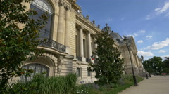 Light posts and trees next to the Petit Palais in Paris Stock Footage