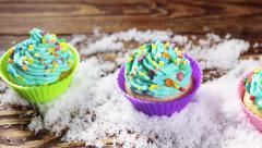 Stock Video Footage of Christmas cupcakes in the snow