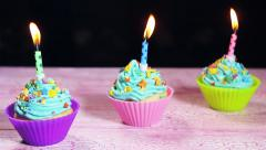 Stock Video Footage of Christmas cupcakes and candles
