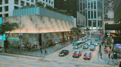 Luxury flagship stores in Central, Hong Kong Stock Footage