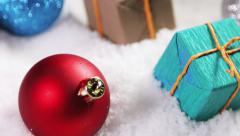 Gifts and Christmas balls for the holiday of Christmas and New Year Stock Footage