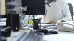 Male workers working in the office Stock Footage