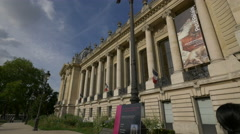 Flags of France on Petit Palais in Paris Stock Footage