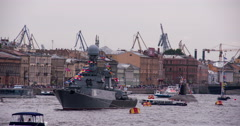 Russian Naval Parade. Stock Footage