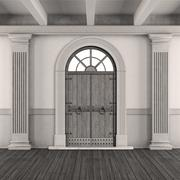 Black and white classic home entrance - stock illustration