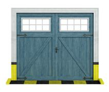 classic car wooden garage on white - stock illustration