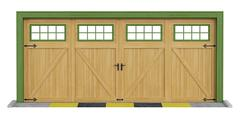 Classic two car wooden garage on white - stock illustration