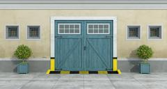 Old facade with blue car wooden garage - stock illustration