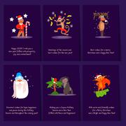 Set of Christmas and New Year greeting cards Stock Illustration