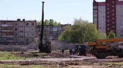 Many special equipment on construction site at summer Stock Footage