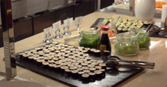 Making photo of sushi with mobile in cafe Stock Footage