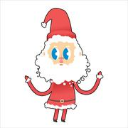 Stock Illustration of Cute Santa Claus with big eyes. Young Santa raised his hands up. Funny Christ