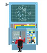 Production systems in new year. Control Panel with buttons and sensors. Butto Stock Illustration