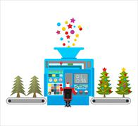 Factory machine for release of beautiful Christmas trees. Tree for new year w Stock Illustration