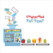 Christmas machine. Processing letters from children gifts. Automatic sorting - stock illustration