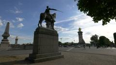 Simón Bolívar statue, located on a side of the Pont Alexandre III, Paris Stock Footage