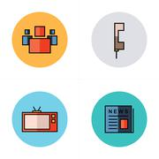People, news, tv, phone icons flat design Stock Illustration