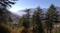 Panorama of Indian Village of Naggar Among Landscape Stock Footage