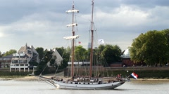 Historic tall sailing ship on the river Thames Stock Footage