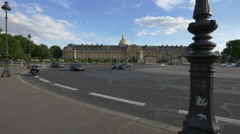 Traffic in front of Les Invalides in Paris Stock Footage