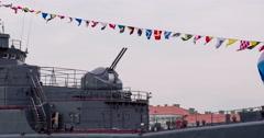 Turret Gun Warship. Stock Footage