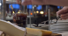 Cutting cheese in the buffet Stock Footage