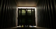 cargo container loading inside view - stock footage