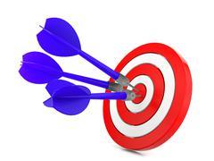 Dart hitting a target, success concept Stock Illustration