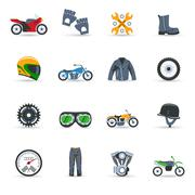 Motorcycle Icons Set - stock illustration