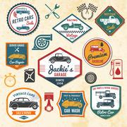 Retro Car Labels Stock Illustration