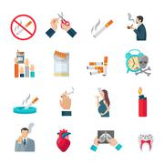 Smoking Flat Icons Set Stock Illustration