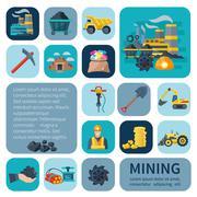 Mining Icons Flat Set - stock illustration