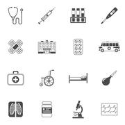 Medical Icons Black - stock illustration