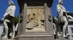 Monument by Leonardo da Vinci in Milan Stock Footage