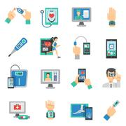 Digital Health Icons Flat Set - stock illustration