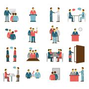 Meeting People Flat Color Icons Stock Illustration