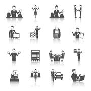 Salesman Monochrome Icons Set - stock illustration