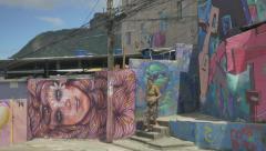 Urban art in Rio favela Stock Footage