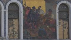 Historic scene painted on Palazzo Da Mula Morosini in Venice Stock Footage
